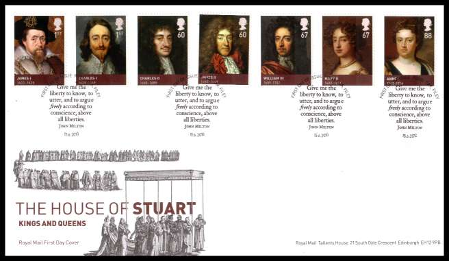 view larger back view image for House of Stuart set of seven on an unaddressed official Royal Mail FDC cancelled with the official alternative FDI cancel for ROYAL OAK - FILEY dated 15 6 2010