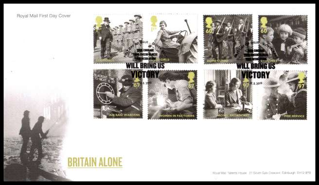 view larger back view image for Britain Alone set of eight on an unaddressed official Royal Mail FDC cancelled with the official alternative FDI cancel for DOVER - KENT dated 13 5  2010