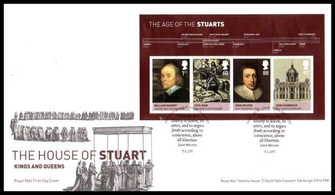view larger back view image for The House of Stuarts minisheet on an unaddressed official Royal Mail FDC cancelled with the official alternative FDI cancel for ROYAL OAK - FILEY dated 15 6  2010