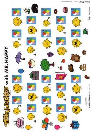 view larger image for SG LS52 (2008) - ''Smilers for Kids'' - 1st Series<br/>Balloons stamps -<br/>Mr. Men labels