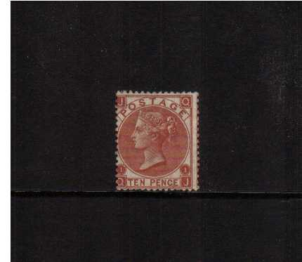 view larger image for SG 114 (1867) - 10d Deep Red-Brown lettered 'Q-J' Fresh stamp with some original gum centered to the left fine in all other respects. SG Cat �3500