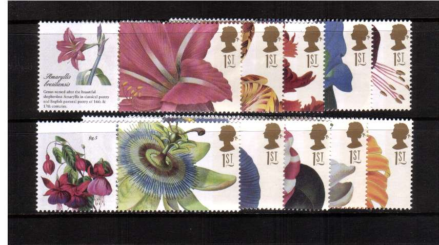 view larger image for SG LS11set (2003) - Flowere Paintings set of ten<br/>(different perforations from boooklet issue)<br/>Note Labels may vary from image shown