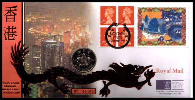 view larger image for SG RMC11 (1997) - Royal Mail and Royal Mint commemorative cover commemorating:<br/>Transfer of HONG KONG to Chinese rule - HK $5<br/><br/>SG Cat �22