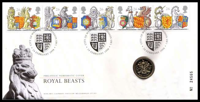 view larger image for SG RMC14 (1998) - Royal Mail and Royal Mint commemorative cover commemorating:<br/>650th Anniversary of Order of the Garter - �1 coin<br/><br/>SG Cat �100