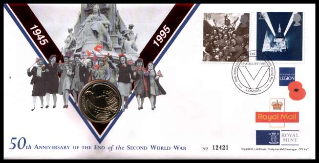 view larger image for SG RMC5 (1995) - Royal Mail and Royal Mint commemorative cover commemorating:<br/>50th Anniversary of End of 2nd World War - �2 coin<br/><br/>SG Cat �20