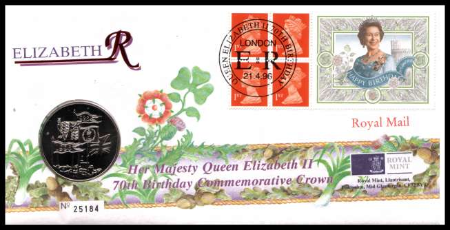 view larger image for SG RMC7 (1996) - Royal Mail and Royal Mint commemorative cover commemorating:<br/>70th Birthday of The Queen - �5 coin<br/><br/>SG Cat �24