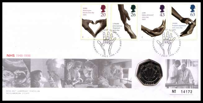 view larger image for SG RMC15 (1998) - Royal Mail and Royal Mint commemorative cover commemorating:<br/>50th Anniversary of National Health Service - 50p coin<br/><br/>SG Cat �20
