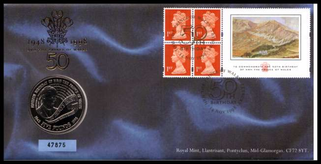 view larger image for SG RMC17 (1998) - Royal Mail and Royal Mint commemorative cover commemorating:<br/>50th Birthday of Prince of Wales - �5 coin<br/><br/>SG Cat �24