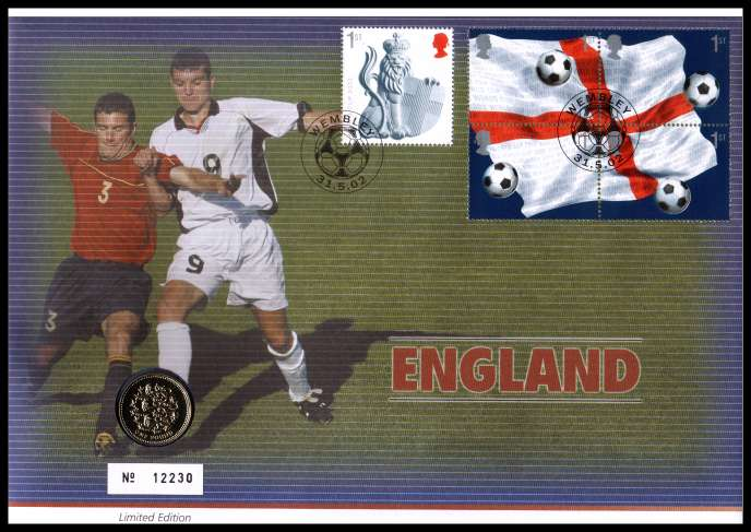 view larger image for SG RMC30 (2002) - Royal Mail and Royal Mint commemorative cover commemorating:<br/>World Cup Football - �1 coin<br/><br/>SG Cat �20