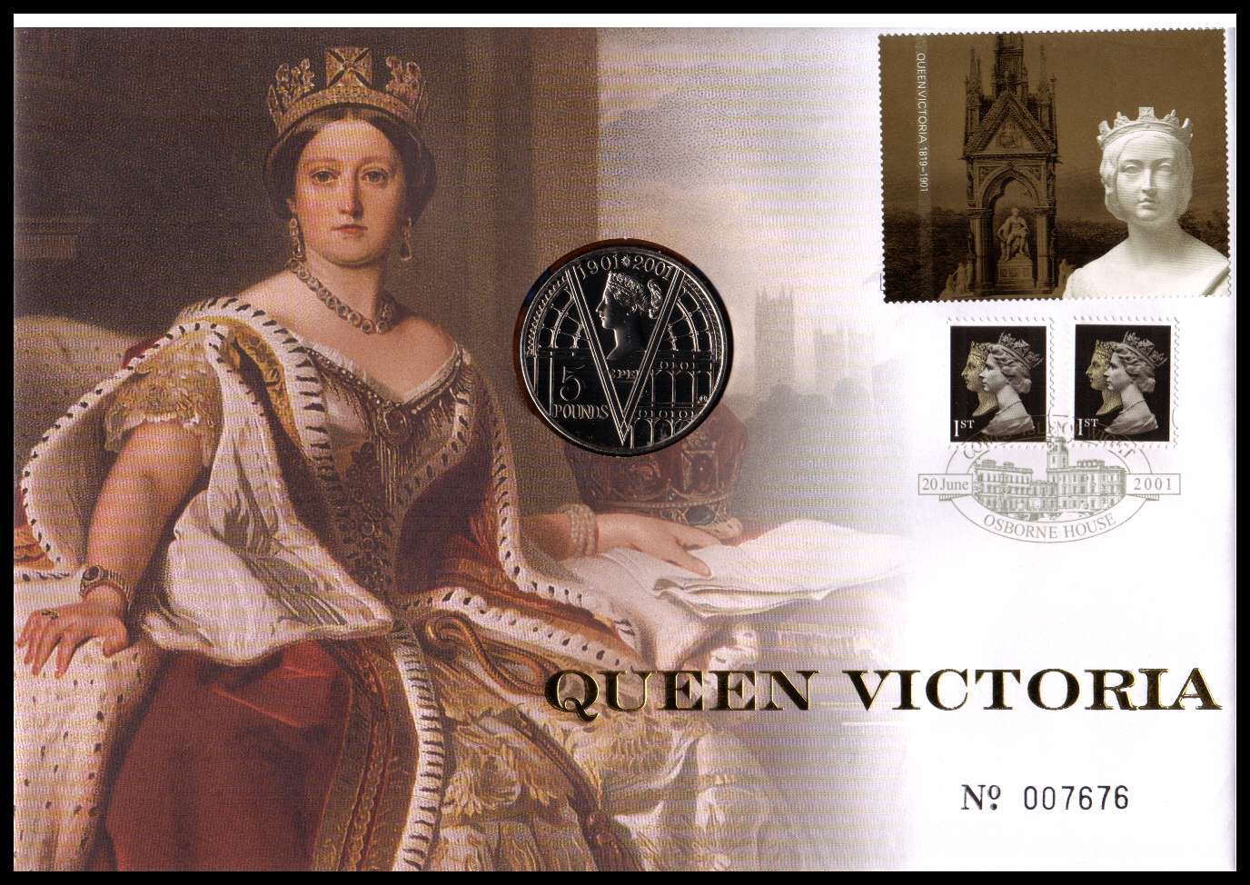 view larger image for SG RMC27 (2001) - Royal Mail and Royal Mint commemorative cover commemorating:<br/>Death Centenary of Queen Victoria - �5 coin<br/><br/>SG Cat �24