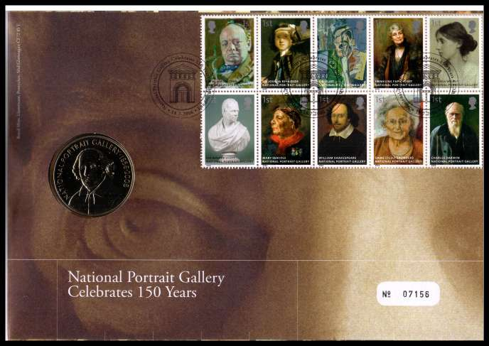 view larger image for SG RMC51 (2006) - Royal Mail and Royal Mint commemorative cover commemorating:<br/>150th Anniversary of National Portrait Gallery - medal<br/><br/>SG Cat �22
