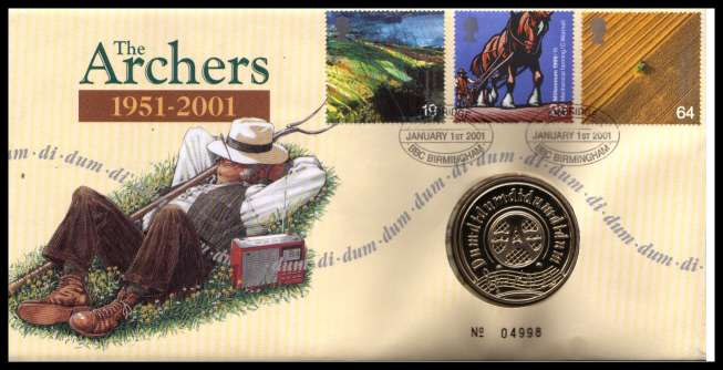 view larger image for SG RMC25 (2001) - Royal Mail and Royal Mint commemorative cover commemorating:<br/>The Archers Radio Programme - medal<br/>