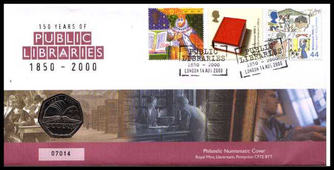 view larger image for SG RMC23 (2000) - Royal Mail and Royal Mint commemorative cover commemorating:<br/>150 Years of Public Libraries - 50p coin<br/>