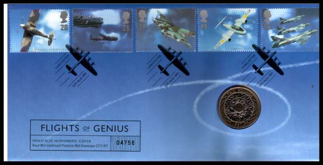 view larger image for SG RMC12 (1997) - Royal Mail and Royal Mint commemorative cover commemorating:<br/>British Aircraft Designers - �2 coin<br/>