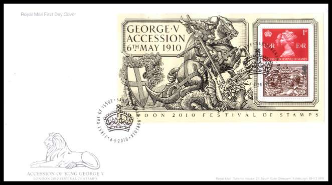view larger back view image for London 2010 - Accession of George V minisheet on an unaddressed official Royal Mail FDC cancelled with the official alternative FDI cancel for SANDRINGHAM - NORFOLK dated 6 5 2010