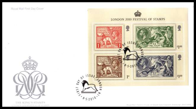 view larger back view image for London 2010 - The King's Stamps  minisheet on an unaddressed official Royal Mail FDC cancelled with the official alternative FDI cancel for LONDON N1 dated 8 5  2010