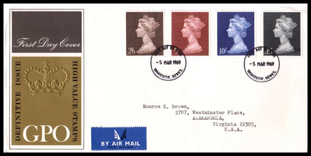 view larger back view image for 2/6d - �1 High values set of four on neatly typed official Post Office FDC cancelled with the WINDSOR - BERKS FDI cancel.