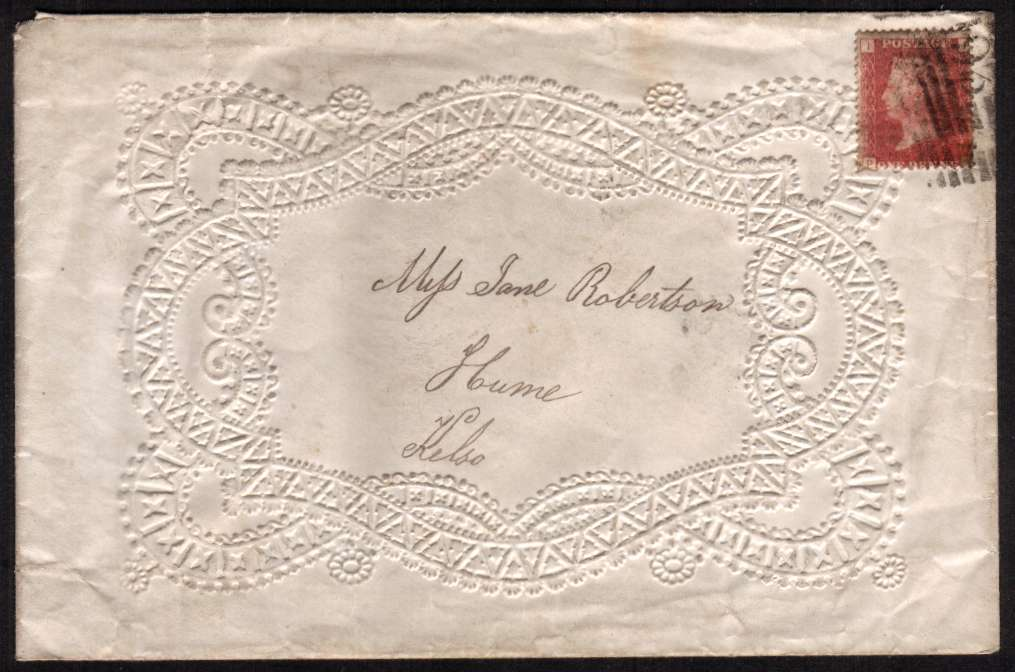 view larger front view of image for An amazing richly EMBOSSED undamaged, local  VALENTINES envelope bearing a Penny Red from Plate 160 lettered ''P-I' cancelled with a Scottish 193 for KELSO also backstamped KELSO FE 9 75. Rare so fine!