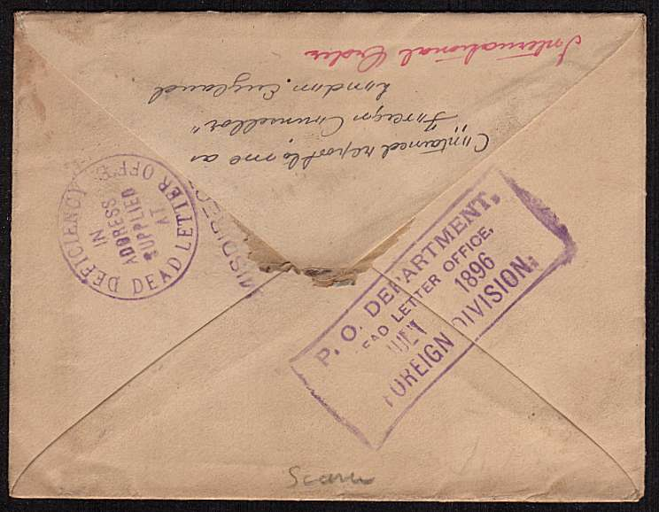 view larger back view of image for �d Vermilion on a complete envelope cancelled with a SOUTH WALES SORTING CARRIAGE steel CDS dated OC 24 95 to Connecticut USA and bearing several US cancels for MISDIRECTED etc Unusual.
