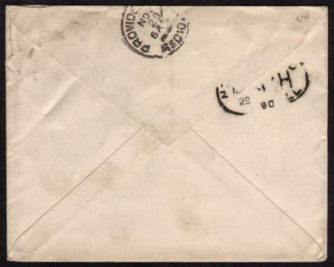 view larger back view of image for 5d Jubilee - Die II on a small neatly addressed envelope to PROVIDENCE Rhode Island USA cancelled with a LONDON 'hooded circle' CDS dated 19 NO 90.