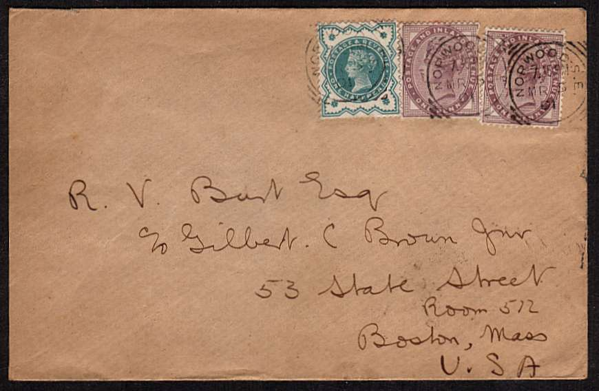 view larger front view of image for �d Blue-Green and two 1d Lilacs on small complete envelope cancelled with a London 'squared circle' cancel for NORWOOD S.E. dated MR 5 01 and a lovely crisp BOSTON arrival mark on the back dated MAR 14 19 01. It wont get there any quicker today!!!
