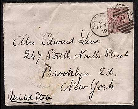 view larger front view of image for 2�d Rosy Mauve - Watermark Orb - Plate 11 lettered 'C-H' cancelled with a SOUTHPORT duplex dated FE 7 79 to BROOKLYN - NEW YORK with BOOKLYN arrival mark on back. SG Cat �90
