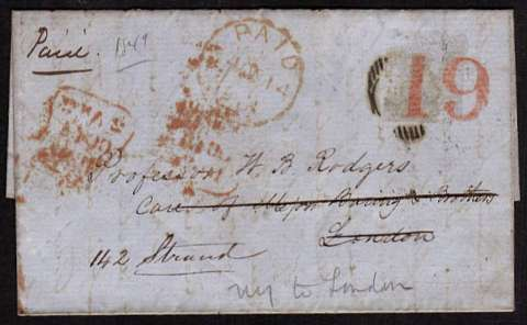 view larger front view of image for NEW YORK to LONDON by steamer HIBERNIA letter dated 17 Sept 1849. The US stamp arrived uncancelled and was thus cancelled in London. The entire was re-directed to another part of London but the stamp was removed (by a early collector??!!) Very rare!