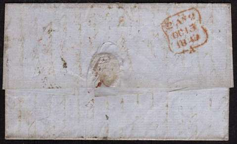 view larger back view of image for NEW YORK to LONDON by steamer HIBERNIA letter dated 17 Sept 1849. The US stamp arrived uncancelled and was thus cancelled in London. The entire was re-directed to another part of London but the stamp was removed (by a early collector??!!) Very rare!