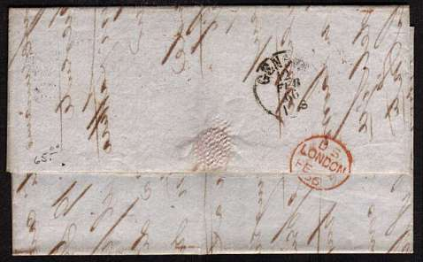 view larger back view of image for 6d Deep Lilac - Plate 5 lettered 'S-L' on entire crisply cancelled with a LIVERPOOL duplex dated 8 FE 66 to GENOA with arrival mark on back only 4 days later!!