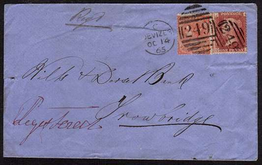 view larger front view of image for Registered envelope with 1d Red lettered 'Q-J' and 4d plate 4 lettered 'F-C' from DEVIZES cancelled with a duplex dated OC 14 65 plus unusually a '249' handstamp to TROWBRIDGE via BATH. A rare postmark combination.