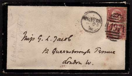 view larger front view of image for �d Rose-Red vertical pair from 5 lettered P-R' and 'Q-R' on a mounring envelop cancelled with an indistinct MALVERN duplex probably dated JA 23 72 to LONDON W. Superb stamps!