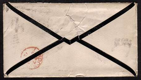 view larger back view of image for �d Rose-Red vertical pair from 5 lettered P-R' and 'Q-R' on a mounring envelop cancelled with an indistinct MALVERN duplex probably dated JA 23 72 to LONDON W. Superb stamps!