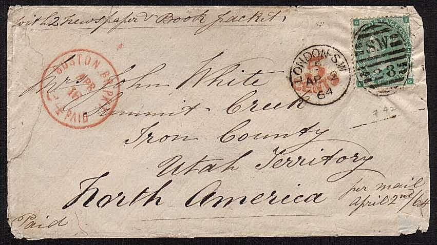 view larger front view of image for 1/- Green from Plate 2 lettered 'B-G' on small envelope cancelled with a LONDON SW duplex dated AP 2 64 to SUMMIT CREEK - IRON COUNTY - UTAH TERRITORY - NORTH AMERICA. A rare destination and possibly Gold rush cover!