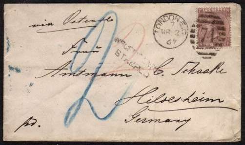 view larger front view of image for 6d Lilac - with hyphen - from Plate 6 - lettered 'N-F' - Watermark Emblems cancelled with a LONDON E.C. duplex to GERMANY. SG Cat �300