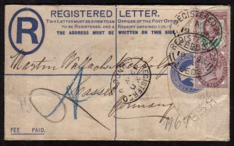 view larger front view of image for 1�d Jubilee and 1d Lilac on REGISTERED LETTER cancelled with two strikes of an oval  REGISTERED - LEEDS hand stamp dated 19 JY 98 to GERMANY. Both stamp plus the envelope flap has been perfined 'R&B' Unusual!