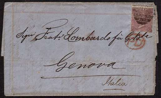 view larger front view of image for 6d Lilac with hyphen from Plate 5 lettered 'J-F' on entire cancelled with part  LONDON duplex and LONDON handstamp on reverese dated DE 15 66 to GENOVA - ITALY. SG Cat �150