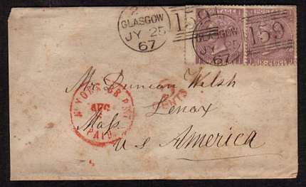 view larger front view of image for A pair of 6d Lilac with hyphen from Plate 5 lettered 'I-I' to J-I' cancelled with two light strikes of a GLASGOW duplex dated JY 25 67 to U S AMERICA with a scottish backstamp for KILWINNING cancelled same day.