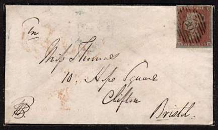 view larger front view of image for 1d Red four margined imperforate lettered 'H-K' on mourning envelope cancelled with a LONDON '30' for CARSHALTON to CLIFTON - BRISTOL with a CLIFTON arrival on the back dated JU 25 1851