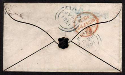 view larger back view of image for 1d Red four margined imperforate lettered 'H-K' on mourning envelope cancelled with a LONDON '30' for CARSHALTON to CLIFTON - BRISTOL with a CLIFTON arrival on the back dated JU 25 1851